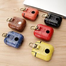 Genuine Leather Back Cover Case Apple AirPods Earphones Crocodile Grain Coque Handmade Classic Capas Real
