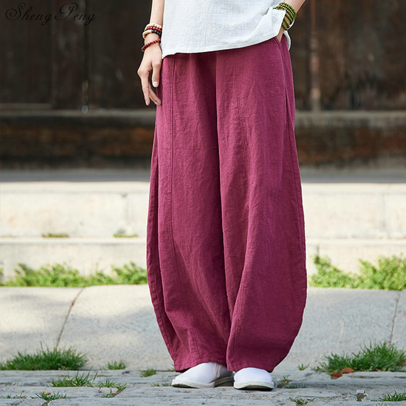 Chinese style off white pants baggy pants women vertical stripes casual loose oversized wide leg pants V940