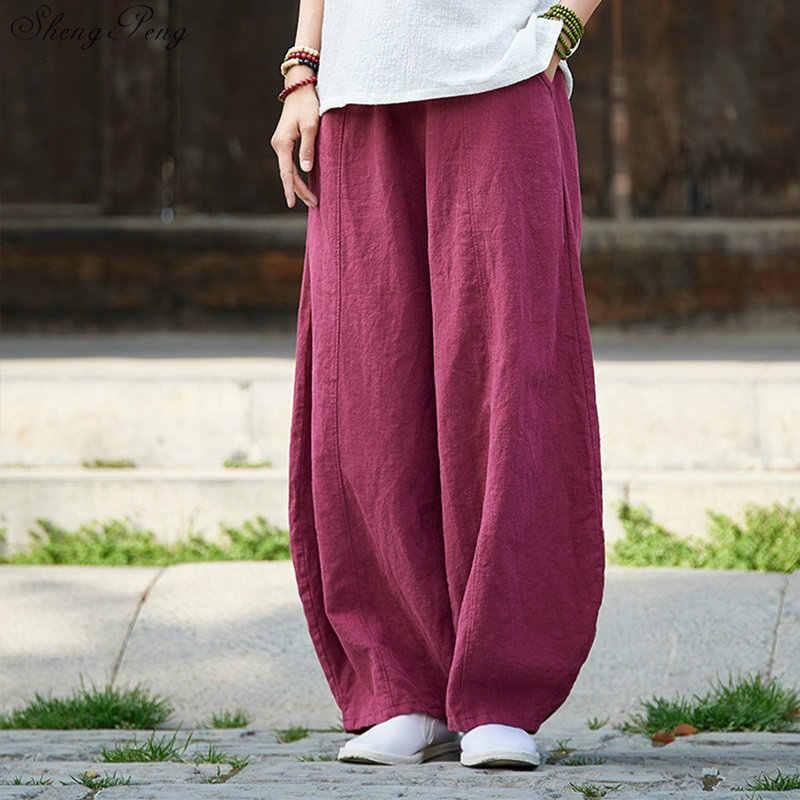 Pantalones Holgados Para Mujeres Estilo Chino De Color Blanco Roto Pantalones Holgados Para Mujeres Rayas Verticales Pantalones Holgados Informales De Pierna Ancha De Gran Tamano V940 Falda Aliexpress