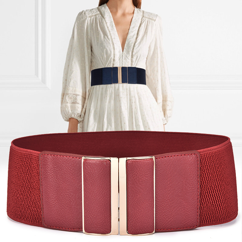 Ladies Wide Waistband Hight Elastic Decorative Wide Belt Women Joker Coat Waist Chain Red And Black Wide Belt Winter B-8392