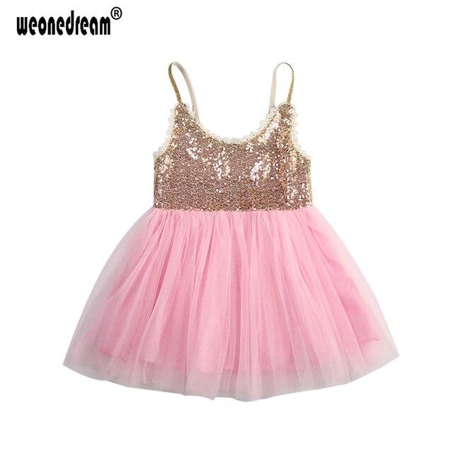 d61f68d5d6 WEONEDREAM Niñas Vestidos de Verano 2017 Chicas Princesa Velo Vestido  Glitter Tutu Dress Kids para Niñas