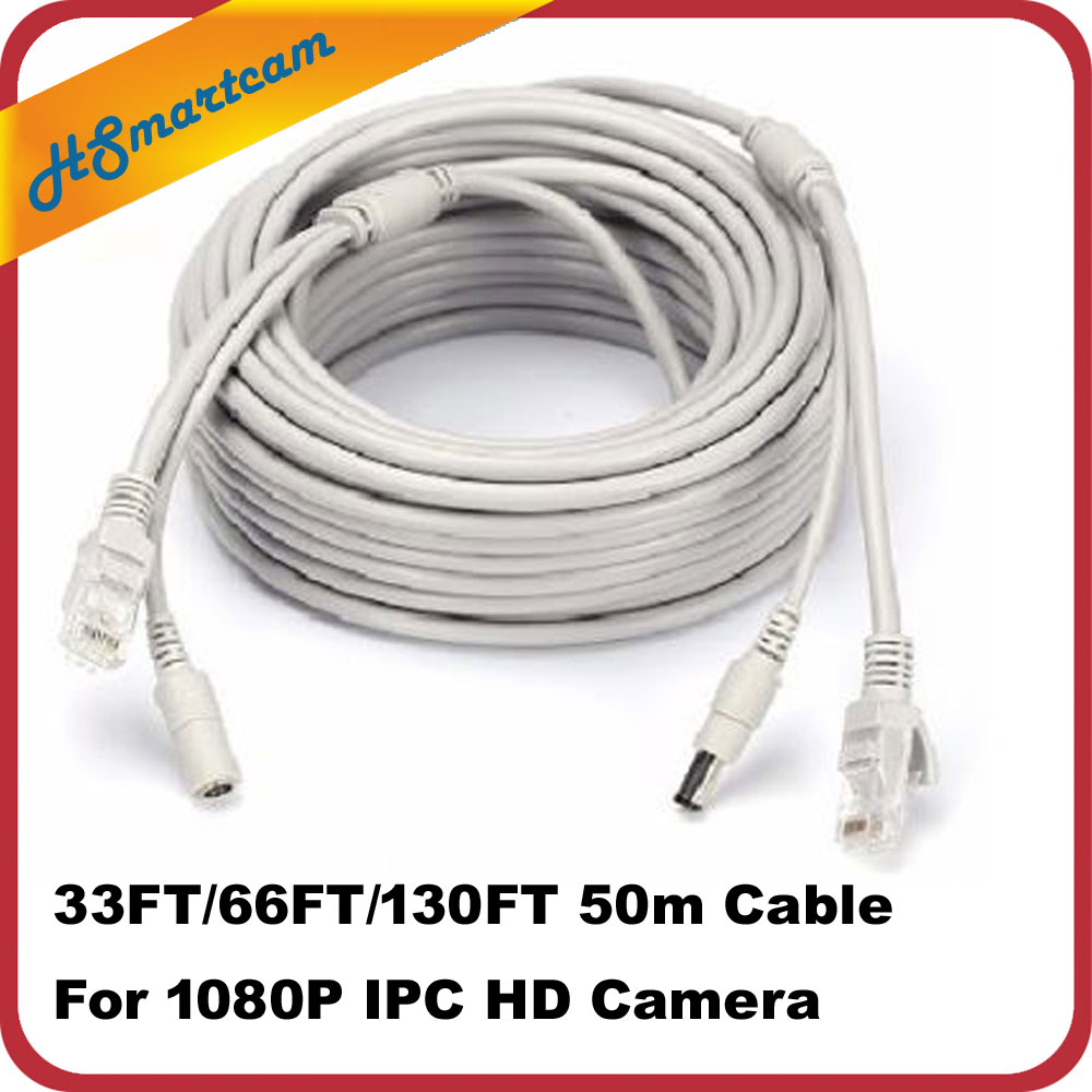 10M/33ft 20m/66ft CCTV Network Cable RJ45 Cable With 12V DC Power 2.1x5.5mm CAT5/5e Cameras Ethernet Cable For CCTV IP Camera