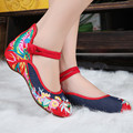 2015 Women Shoes National Style Old Peking Flat Heel Flats with Embroidery Soft Sole Casual Shoes Plus Size 41