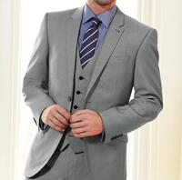 Bespoke Light Grey Groom Tuxedos Best Man Notch Lapel Groomsmen Men Wedding Suits Bridegroom Party Blazer (Jacket+Pants+Vest)