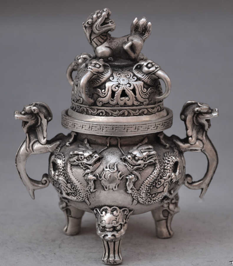 SUIRONG---607+++Chinese buddhist manual old silver copper dragon lion statues incense burner