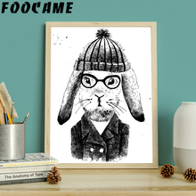 FOOCAME Rabbit Hat Black and White Animal Nordic Poster Print Art Wall Canvas Painting Home Decoration Pictures Childs Room