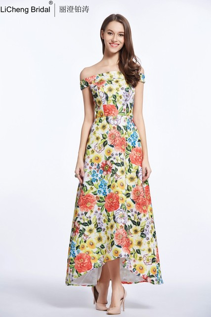 Evening Dress Vintage Fl Print Dresses Hot Ing Colorful Satin Long Formal Ck