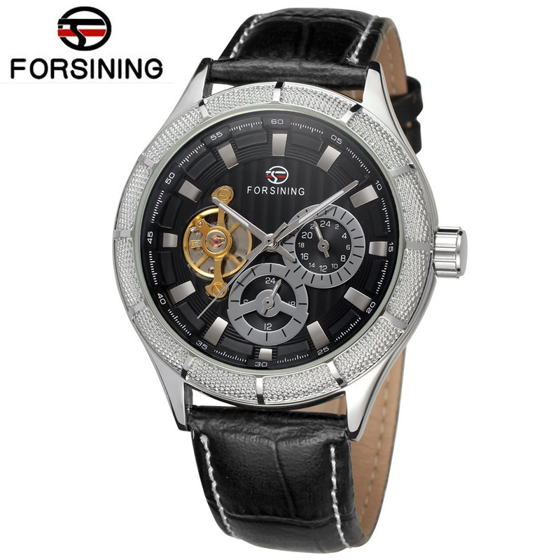2017 Forsining Man Men's Watch Mechanical Men's Flywheel Auto Wrist Watch Best  Gift Free Ship