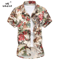 YK UNCLE Brand Mens Hawaiian Floral Shirt 2018 Summer Fashion High Quality Luxury Stretch Mercerized Cotton Short Sleeved Shirt