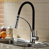 Kitchen Faucet Deck Mounted Black Hose Kitchen Mixer Tap Single Handle Stream Sprayer Chrome Plated Water Tap with Bracket