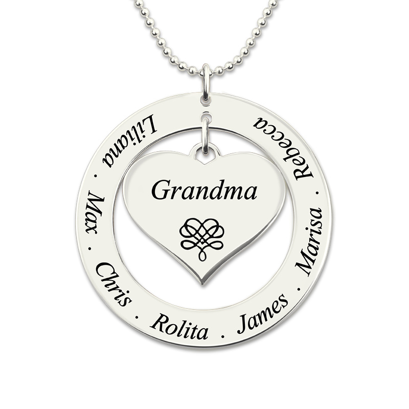 Wholesale Engraved Love Heart Necklace Circle Pendant Necklace for Grandma Family Name Jewelry Sterling Silver yoursfs love you forever white gold plated heart in circle pendant necklace with austrian crystal open heart silver necklace wo