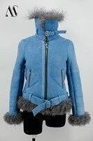 Arlenesain custom sky blue sheepskin leather women jacket