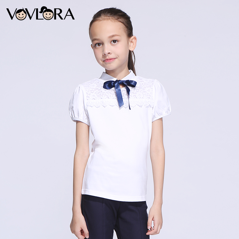 Girls T-shirt Tops Short Sleeve Cotton Lace Kids T-shirts Turtleneck Summer Ribbon School Clothes 2018 Size 9 10 11 12 13 14 Y