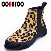 CONASCO Fashion Women Round Toe Horse Hair Ankle Boots Autumn Winter Warm Quality High Heels Shoes Woman Animal Prints Boots