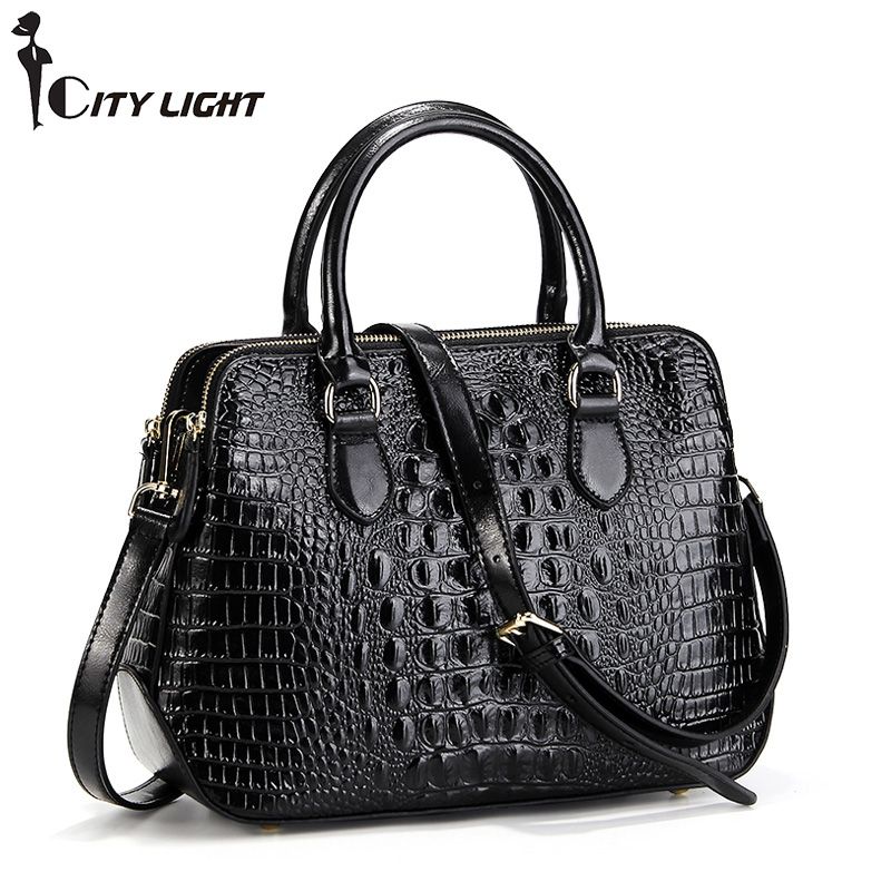 Classical Crocodile Pattern Cowhide Leather Women's Handbag for Laptop OL Business Ladies Shoulder Bag Tote Bags image