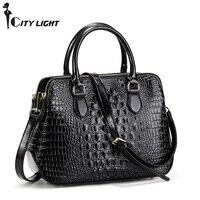 Classical Crocodile Pattern Cowhide Leather Women's Handbag for Laptop OL Business Ladies Shoulder Bag Tote Bags