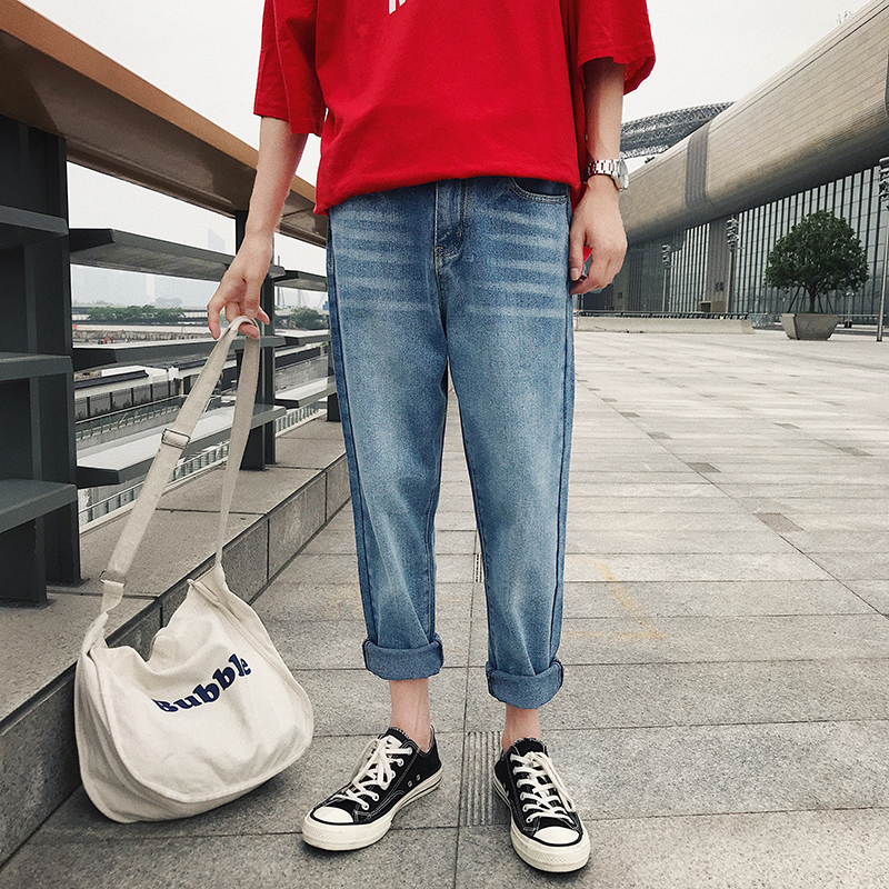 2018 New Mens Fashion Personality Wash Simple Solid Color Casual Loose Large Size Youth Routine Nine Points Jeans Tide
