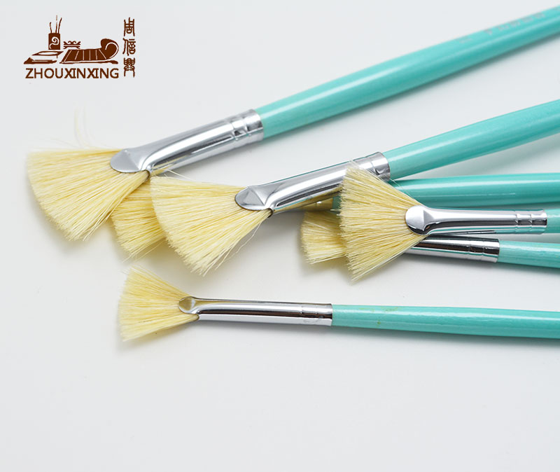 6pcs/Set Fan-shaped Painting Brush Oil Paint Pig Bristles Water Color Painting Brush Acrylics Drawing Art For Supplies