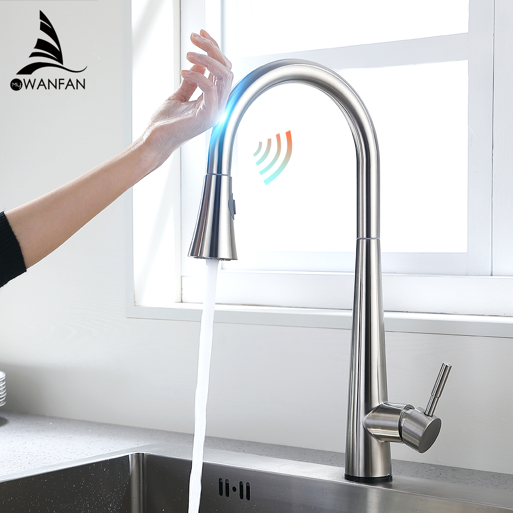Brushed Kitchen Faucet Smart Touch Kitchen Faucets Pull Out Kitchen Mixer Tap 304 Stainless Steel Sensor Kitchen Faucet KH1002