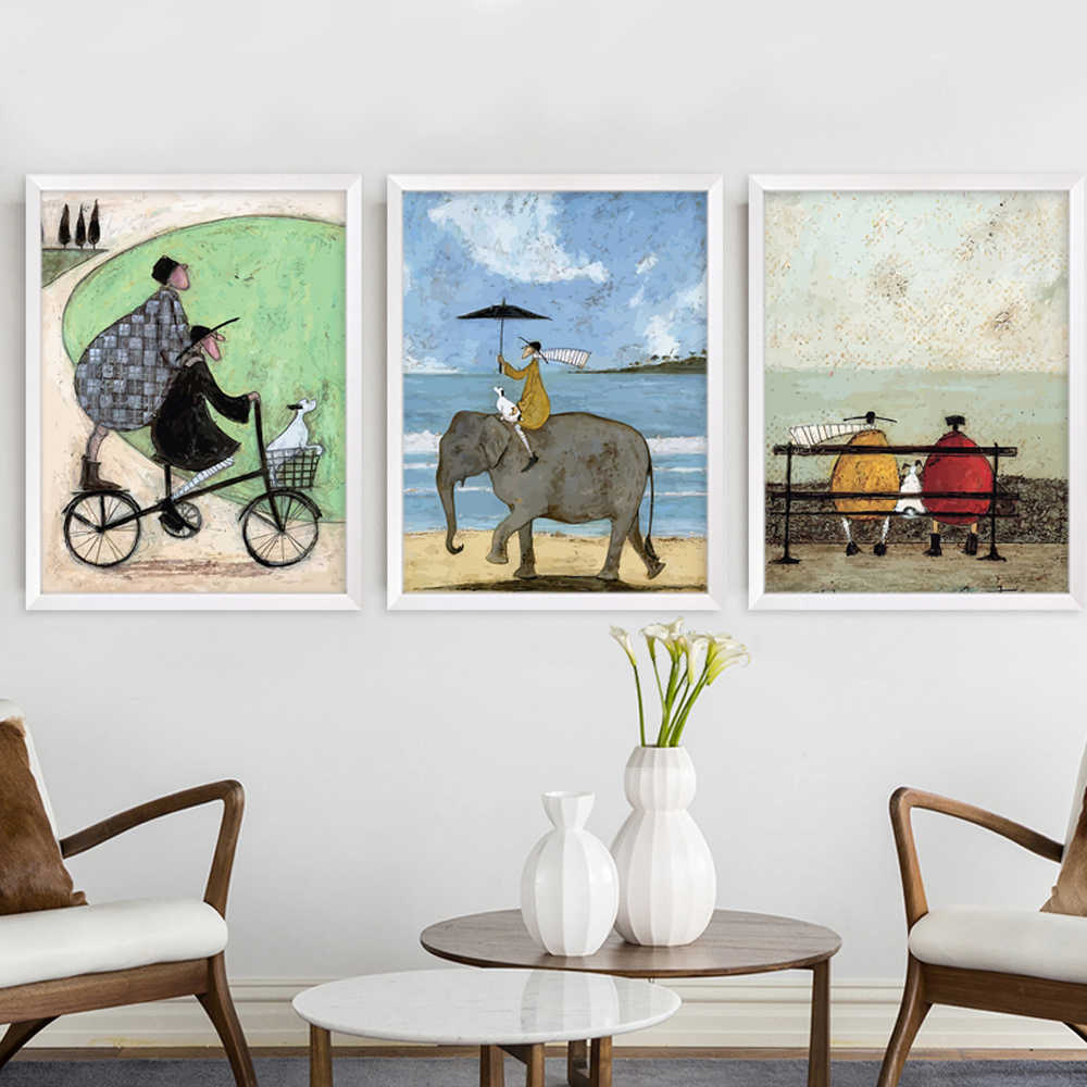 Happy Family Abstract Love Canvas Painting Vintage Posters Prints Scandinavian Nordic Wall Art Pictures for Bedroom Home Decor