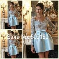 Elegant High Quality Blue Long Sleeve Knee Length Lace Custom Made Girls Party Design BD62712 Short