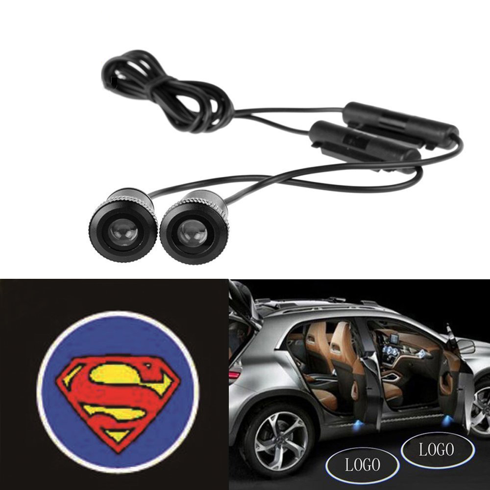 2pcs 4th Generation 7W LED Car door warning logo ghost shadow lights Auto laser projector light car welcome Lamp for Superman for most cars 2pcs led car door light courtesy logo laser projector punching ghost shadow lamp lights for cadillac logo