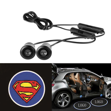 2pcs 4th Generation 7W LED Car door warning logo ghost shadow lights Auto laser projector light car welcome Lamp for Superman