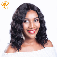 SSH Body Loose Wave Lace Closure Wig Human Hair Short Non-Remy Bob Wigs