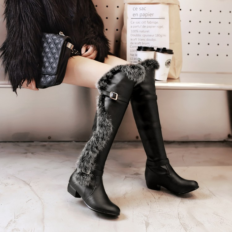 ФОТО Boots flat boots rabbit fur thermal low-heeled boots women's slip-resistant shoes 2016 free shipping