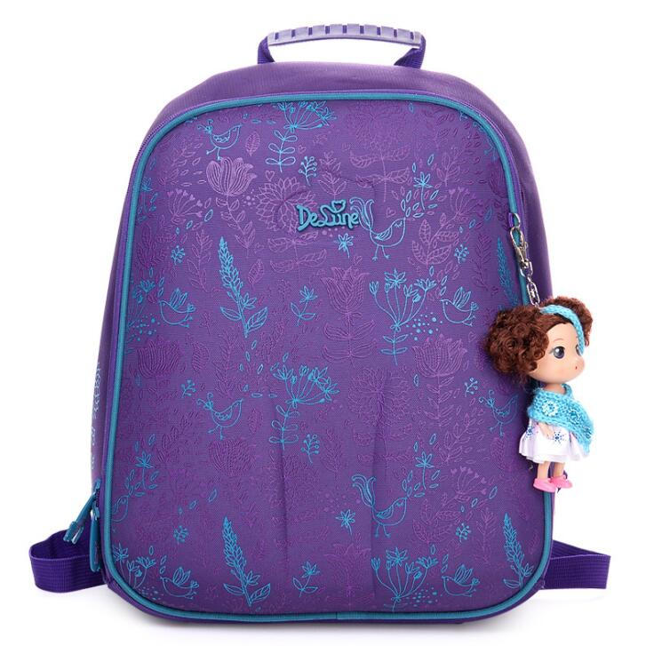 Delune Orthopedic Schoolbag Backpack Kids Bag Waterproof Nylon Children School Bags Girls Boys Randoseru for Grade 1-3 Students