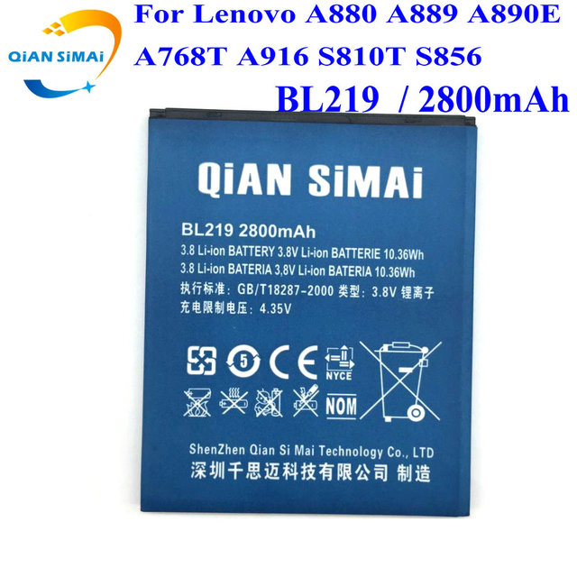 QiAN SiMAi  New 100% High Quality BL219 Battery for Lenovo A880 A889 A890E A768T A916 S810T S856 Cell phone+ Track Code