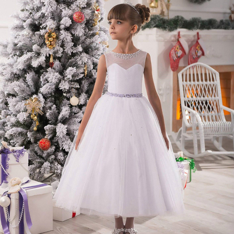 ФОТО Long First Communion Dresses White Ankle Length Ball Gown Sleeveless O-Neck Crystal Bow Sashes Vestidos De Primera Comunion