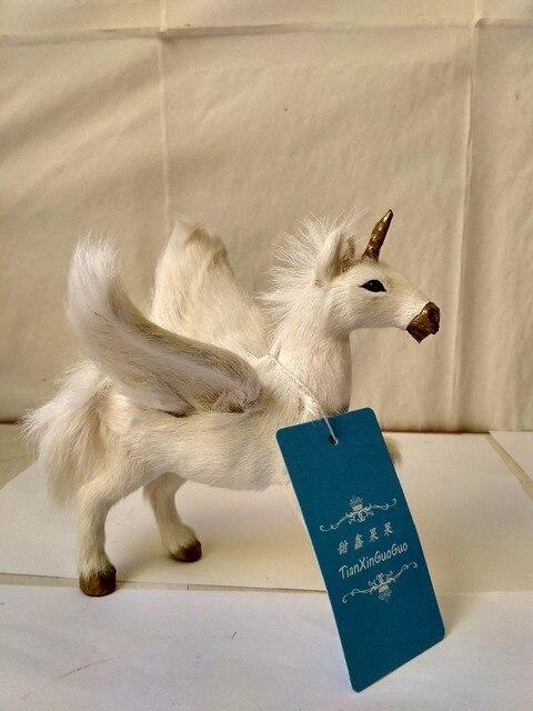 New Simulation Unicorn Toy Resin Fur Wings Unicorns Model Gift