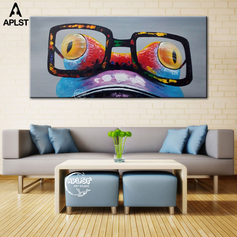 Us 20 33 39 offunframed funky frog wear glasses oil painting modern canvas art cartoon animal large wall picture poster for bedroom decoration in