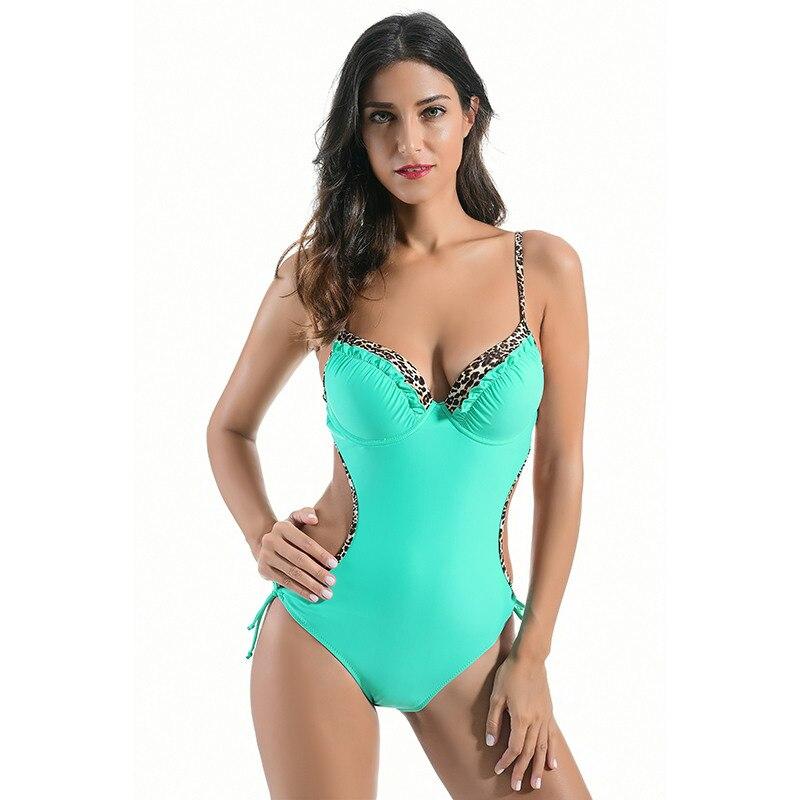 NODELAY सेक्सी तेंदुए Swimwear महिलाओं के एक टुकड़ा बिकनी 2019 महिला समुद्र तट पहनने Backless लगाम स्नान सूट गद्देदार मोनोकिनी XXX