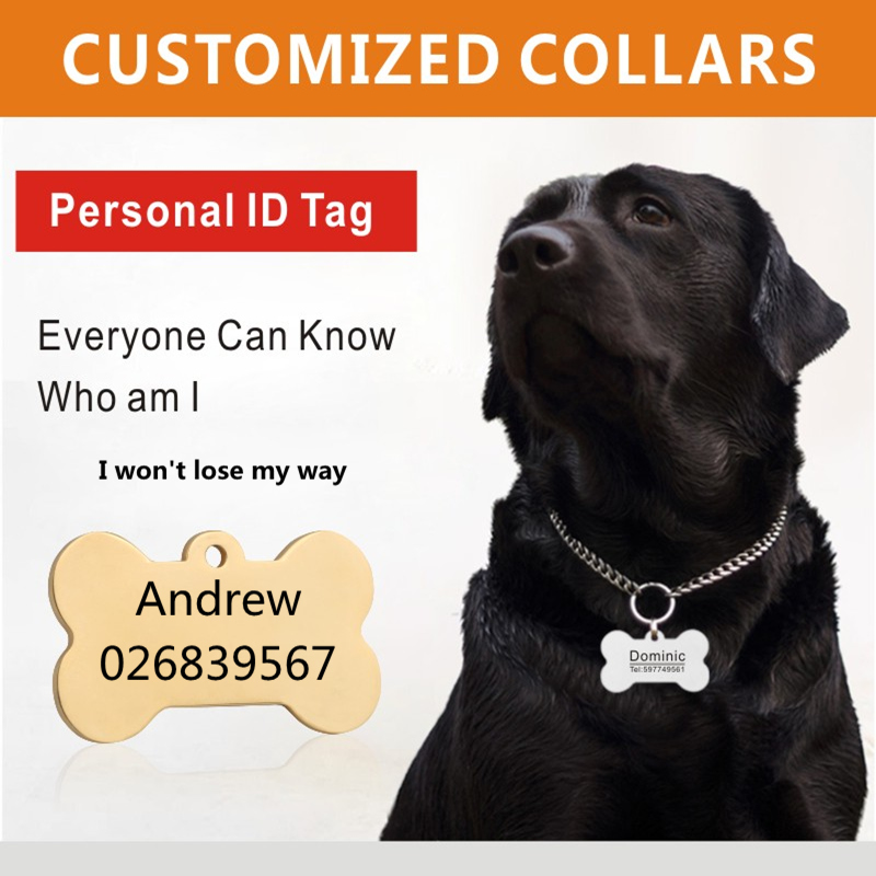 Customized Dogs Collars and Harnesses Custom Dog Sheet Personalized Cat Dogs Tag Engraved Collar Dog ID Tag Name and Phone