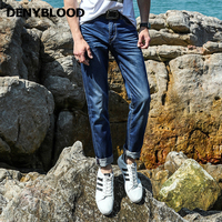 Denyblood Jeans 2017 Summer Light Weight Tencel Denim Mens Jeans Slim Straight Jeans Pants 3D Crinkle