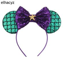 1PC New 3.3Mermaid Minnie Mouse Ear Headbands 5Sequin Bows DIY Hair Accessories For Kids Trendy Headwear