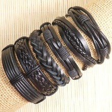2016 handmade friendship Wholesale (6pcs/lot) ethnic tribal genuine wrap charm male pulsera Black leather bracelets bangles S120