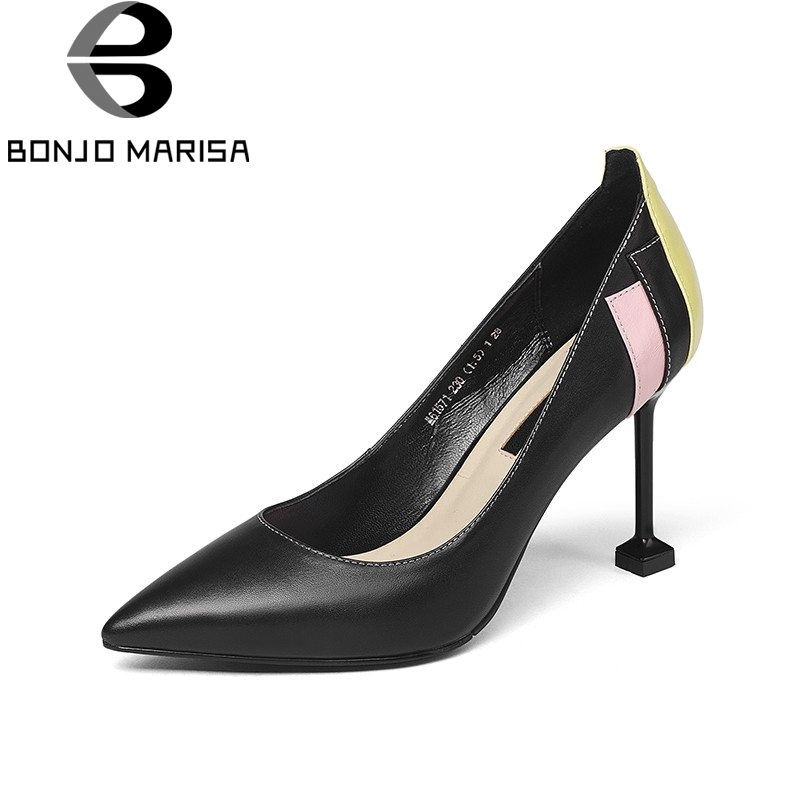 BONJOMARISA 2018 Spring Autumn Fashion Brand Sewing Women Pumps Cow Leather High Heels Ol Patchwork Shoes Woman Shally Lady Shoe siketu 2017 free shipping spring and autumn women shoes fashion sex high heels shoes red wedding shoes pumps g107