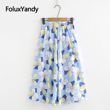 Floral Summer Skirts Women Plus Size New Casual Loose Elastic Waist Print A-line Midi Skirt 4 Colors KKFY3681 dark blue midi a line skirt in red floral print