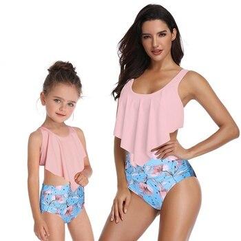 4b04b3c19a Nueva madre e hija traje de baño mamá y yo traje de baño bikini familia  juego ropa trajes look mamá Bebé Vestidos ropa