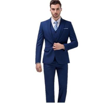 Mens Wedding Dress Slim Suit Commercial Men's Clothing Suits Man Navy Blue Fashion Three Pieces Suit (Jacket+Pants+vest )
