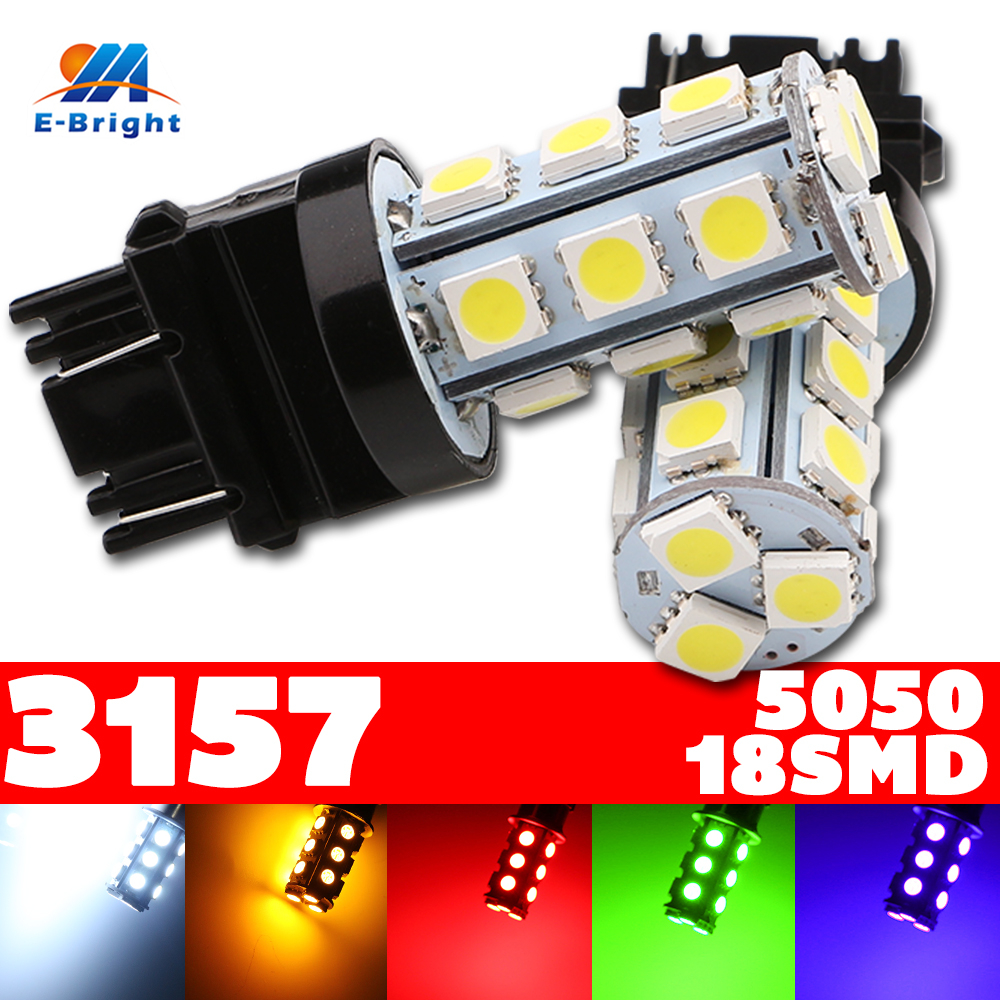 2pcs 3157 T25 T-25 18 SMD 5050 LED Turn Reverse Signal Bulb Lamp Car Light Sourse White Red Yellow Green Amber Free Shipping 2pcs brand new high quality superb error free 5050 smd 360 degrees led backup reverse light bulbs t15 for jeep grand cherokee