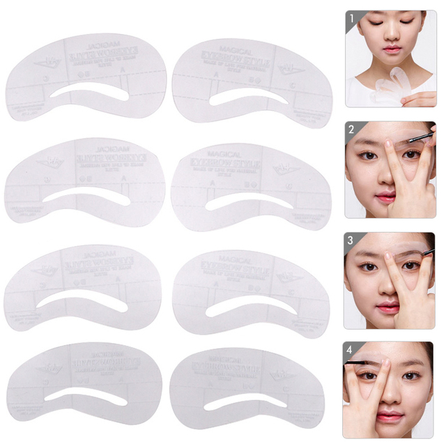 4Pcs Vopregezi Pro Reusable Eyebrow Stencil Set Eye Brow Mold DIY Drawing Guide Styling Shaping Template Card Makeup Beauty Kit 4