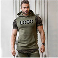 Factory Custom Your Brand LOGO Men Cotton Hoodies Hats Adult Hoodie Sleeveless Sweatshirts Male fitness Body equipment
