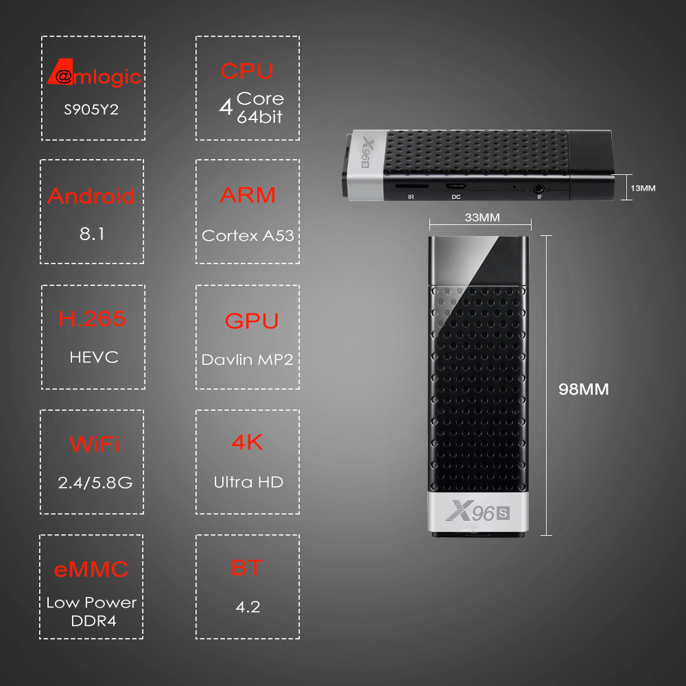 X96s Smart 4 K Android 8.1 TV Box Amlogic S905Y2 DDR4 4 GB 32 GB X96 Mini PC TV Stick 5G WiFi Bluetooth 4.2 TV Dongle lecteur multimédia - 3