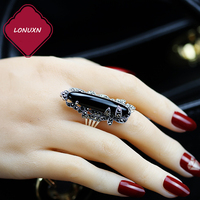 High quality 925 sterling silver Vintage 925 sterling silver Natural stones Black chalcedony rings Bohemia lovers best gift