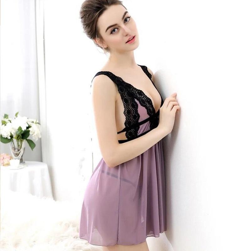 Suspender Lace Nightgowns Ms V Collar Seduction Sexy Sleepshirt Ladies Pure Night Dress Summer Sleepwear Free Shipping Sale
