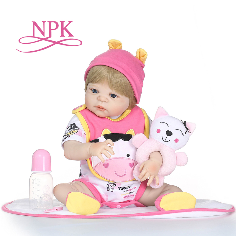 NPK full Silicone body reborn Baby Doll Girl Newbron Lifelike Baby-Reborn Princess Doll Birthday Christmas Gift for girl 55cm full body silicone reborn baby doll toys lifelike baby reborn princess doll child birthday christmas gift girls brinquedos